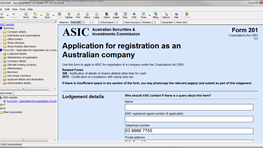 [ASIC] Lodging company formation form 201
