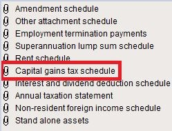Capital gains tax schedule